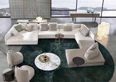 Granville seating system, Christophe Delcourt design; Tape armchair, nendo design. #minotti70 #seatingsystem #christophedelcourt #sofa #2018collection #nendo
