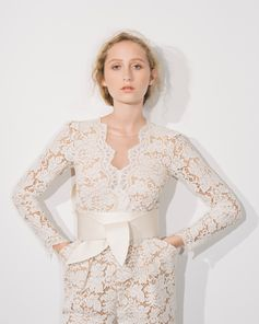 """""""You can be any kind of bride if you come to the Stella McCartney wedding collection; it is truly made with love.""""  . The Pearl jumpsuit from the """"Made with Love"""" collection is a departure from the traditional with femininity, ease and romance. Pieces feature sustainable updates on luxurious couture fabrics."""
