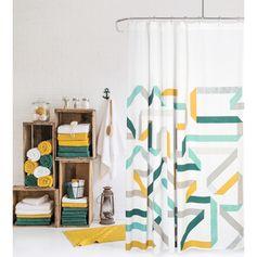 Rideau de douche graphique couleurs pastel Calliope. Idéal pour transformer la déco de votre salle de bain. Fabriqué en coton.