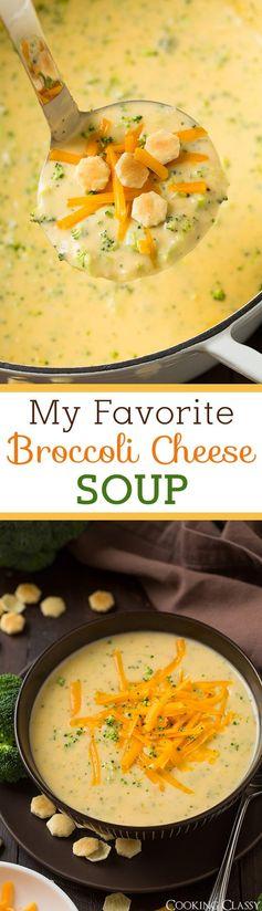 Broccoli Cheese Soup is the perfect comforting dinner to make on a cold day! This soup will always be one of my favorites. It's perfectly cheesy, it's rich and creamy, and it's just oh so delicious! This is one of my go to recipe and I love how quick it comes together. #broccolicheesesoup #soup #recipe #fall #cookingclassy #broccoli #cheese
