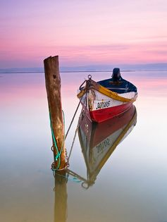 boat, still water , pink sky, just lovely