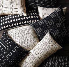 RH's Handwoven African Mud Cloth Pillow Cover:Handcrafted from authentic West African mud cloth (bògòlanfini), our pillow cover reflects the centuries-old art of mud dyeing cotton and embellishing it with distinctive tribal patterns. In a time-intensive process, local artisans bathe the cotton in natural dyes made from tree leaves and dry it in the sun, then hand paint traditional geometric motifs using fermented river mud. Rich in meaning, the geometric markings often tell a story about the...