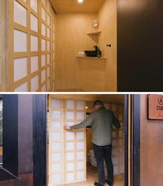 In this modern tiny home, Japanese inspired screen doors hide the bathroom from view and still let light in. #TinyHome #TinyHouse #ScreenDoor #BathroomDoor