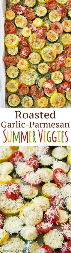 Flavour packed roasted zucchini, squash and tomatoes made with garlic, parmesan cheese and herbs. These sheet pan veggies are incredibly simple yet full of delicious flavor and make a great healthy, easy summer side dish to any meal. | Roasted Vegetables | Summer Side Dish | #zucchini #squash #tomatoes #cookingclassy