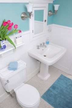 I love the color of the wall (small bathroom ideas on a budget-previous pinner)  -basement bathroom LOVE would look amazing in the jacuzzi room - except the floor... I don't like that floor...