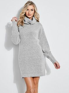 Bundle up with the Blouson-Sleeve Sweater Dress