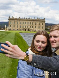 For Time To Parr, Gucci commissioned British photographer Martin Parr to capture the House's timepieces around the world. His signature is capturing unguarded moments—featuring Gucci watches—like this selfie observed at Chatsworth. It took centuries for horological masters to develop the automatic movement, where the natural motion from the wearer automatically winds the watch.