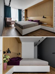 Ukrainian interior design firm K-BAND has designed a modern bedroom for an apartment in Kyiv, and in one of the bedrooms, they created an entire custom wall that includes a headboard, side tables, and bookshelves. #BedroomDesign #ModernBedroom
