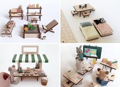 Modern wood dollhouse furniture that includes planters, tables, beds, a market stall, and school.
