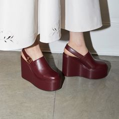 New-season slingback sandals in rich burgundy vegetarian leather. #StellaMcCartney