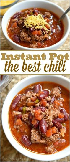 The easiest Instant Pot chili recipe ever and costs less than $10 to make. Healthy Instant Pot recipe that even my kids go crazy over!