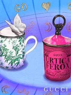 A look at Gucci Décor porcelain coffee mugs produced by Richard Ginori.