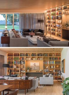 A living room wall full of shelving with hidden lighting.