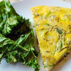 (would use sweet potato) Potato and Leek Frittata with Kale Chips