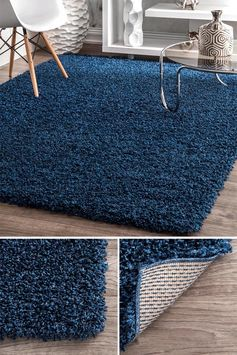 An area rug is one way to help define a space within a home. Depending on the size of the rug, it can be used to create a sitting room within an open floor plan or define an entryway. #ModernRug #BlueRug #AccentRug #AreaRug #ModernDecor