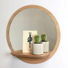 Miroir rond en chêne plaqué étagère Sunrise Reine Mère