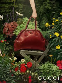 The new line of bags Gucci RE(BELLE) from Gucci Spring Summer 2018 featuring a soft construction crafted from supple natural grain leather, appears in the Gucci Hallucination campaign illustrated by Ignasi Monreal. Creative Director: Alessandro Michele Art Director: Christopher Simmonds