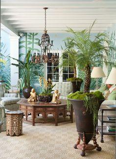 salon plein d exotisme, la nature s invite dans l intérieur, papier peint exotique