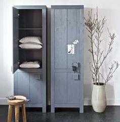 Armoire cabine en pin gris foncé 2 portes 3 étagères Tara