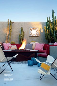 Palm Springs Love the colorful pillows and fire pit. #Contest More