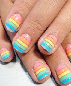 Rainbow Nails: Pastel Stripes