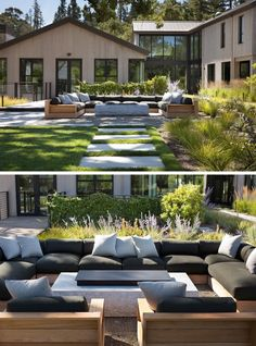 A modern outdoor lounge with U-shape seating and a fire table.