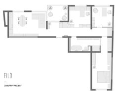 The floor plan of a modern one bedroom / two home office apartment.
