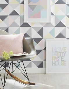 Papier peint papier Polygone multicouleur #leroymerlin #papierpeint #wallpaper #multicolore #tendance #deco #ideedeco #madecoamoi