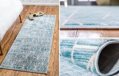 Runner rugs can be used in a variety of areas of the home, like in the kitchen, the hallway, and in the bedroom. #ModernRunnerRug #ModernBlueRug #BlueRunnerRug #ModernDecor