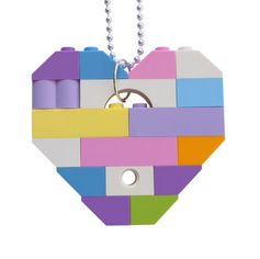 Kawaii Pastel necklace - Chunky heart pendant - made from LEGO® bricks on a 24 Silver/Gold plated ballchain* - Fairy Kei - Sweet Lolita or Collectible heart (Single thickness) Model 11 - made from LEGO® bricks on a 24 Silver/Gold plated ballchain* Length of the ballchain easily reducible * If you