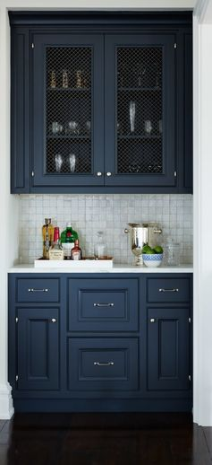 Wet bar idea? caged uppers and dark colour                                                                                                                                                                                 More