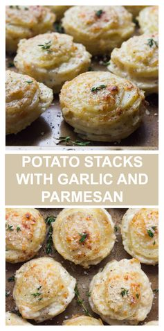 Creamy Potato Stacks with Garlic, Thyme, and Parmesan - Little Broken