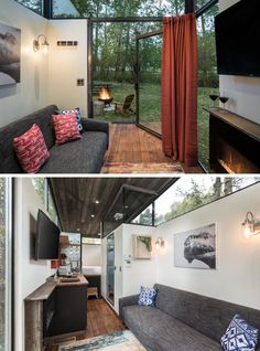 This modern tiny house is built on a steel frame with wheels so it can be easily transported to any site, and an oversized doors connects the deck to the living room, that features a 10 foot ceiling. #TinyHouse #TinyHome #LivingRoom