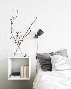 cute + cozy | bedroom decor, floating nightstand, open shelving, shelf nightstand, home inspiration, house, living space, room, scandinavian, nordic, inviting, style, comfy, minimalist, minimalism, minimal, simplistic, simple, modern, contemporary, classic, classy, chic, girly, fun, clean aesthetic, bright, white, pursue pretty, style, neutral color palette, inspiration, inspirational, diy ideas, fresh, stylish, 2017, sophisticated