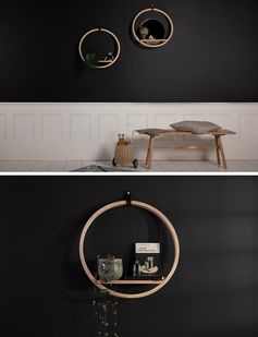 A round wood wall shelf with a circular design and a mirror.