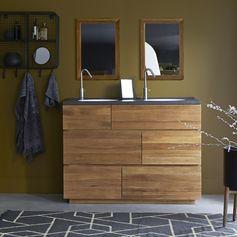 Notre meuble sous vasque Karl Duo en chêne et plan-vasque monoplan. Il est équipé de 4 tiroirs ainsi qu'un plan double vasque intégré pour une optimisation parfaite. #tikamoon