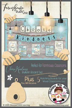 Kindness Farmhouse Classroom Bulletin Board, Door Decor, & Virtual Classroom