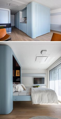 A murphy bed is hidden within a blue textured wall.
