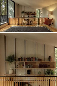 A wall full of light wood shelves held in place by metal rods.