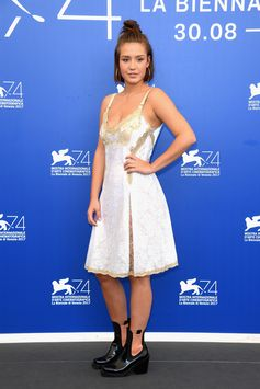 """Adèle Exarchopoulos wearing a Louis Vuitton Fall Winter 2017 look to the """"Racer and The jailbird"""" Photocall during the 74th Venice Film Festival."""
