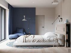 Chambre à coucher: bois bleu, blanc tout en douceur. Parquet clair au sol, luminaires au top , tête de lit avec bibliothèque, tapis jungle