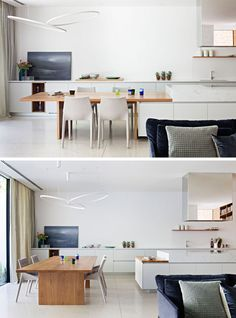 Dining Room Ideas - This modern dining table has been designed so that it can extend the kitchen island, or stand alone for larger family meals. #DiningRoom #KitchenDesign