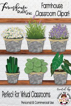 Farmhouse Classroom Clipart Virtual Classrooms & Farmhouse Decor COMMERCIAL Use