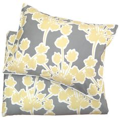 Ashbury Yellow/Gray Duvet Set. Such pretty soft colors! This is a great site for quality designer bedding at an awesome price!