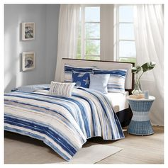 Fairbanks Beach Striped Quilted Coverlet Set (Full/Queen) Blue - 6pc