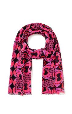 Cut from airy silk chiffon, this scarf is patterned with graphic hearts - an Escada signature. The all-over printed design makes for a standout accessory worn with neutral palettes as well as contrasting prints.