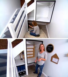 Before + After - An unused space beneath the stairs was transformed into a modern homework station for a child. #HomeworkStation #Desk #HomeOffice #UnderstairStorage