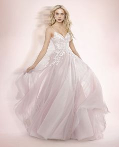 8261ebb97 Style 1709 Denver Blush by Hayley Paige bridal gown -?Pink Berry  posy-embroidered net A-line bridal gown, spaghetti strap sweetheart bodice,  full circular ...