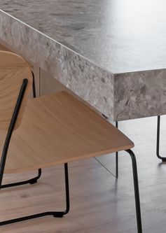 A metal substructure together with a glass plane placed underneath is responsible for maintaining the weight of the cantilevered dining table. #Cantilevered #CantileveredDiningTable #DiningTable #TableDesign