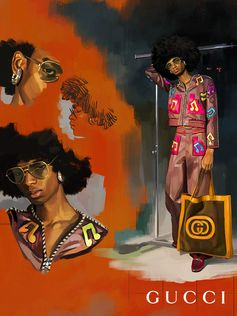 Originally designed by Annie Reavey for Sir Elton John's stage wear, a Gucci Elton John look reinterpreted by Alessandro Michele for the Gucci Spring Summer 2018 collection worn with new crystal Gucci Jewelry pieces. Gucci Elton John will be available from tonight at Dover Street Marketlondon. Art Director: Christopher Simmonds